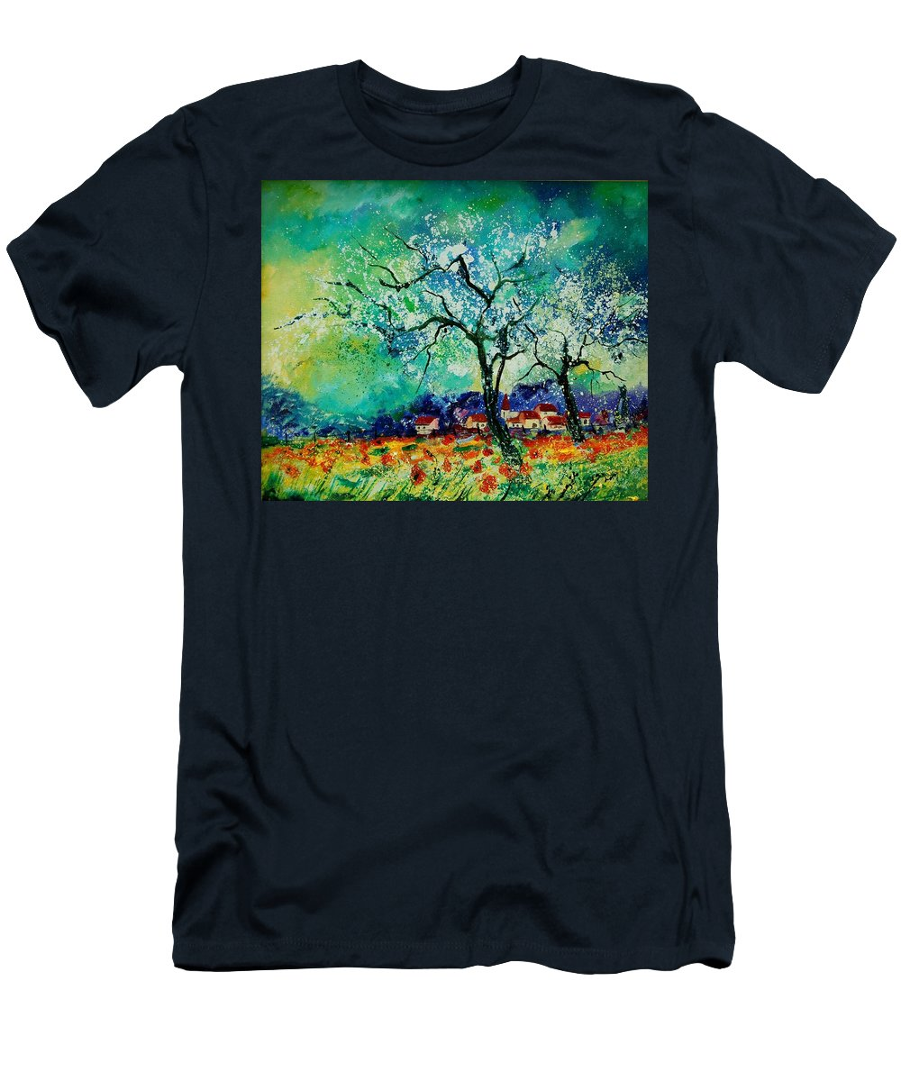Landscape T-Shirt featuring the painting Poppies and appletrees in blossom by Pol Ledent