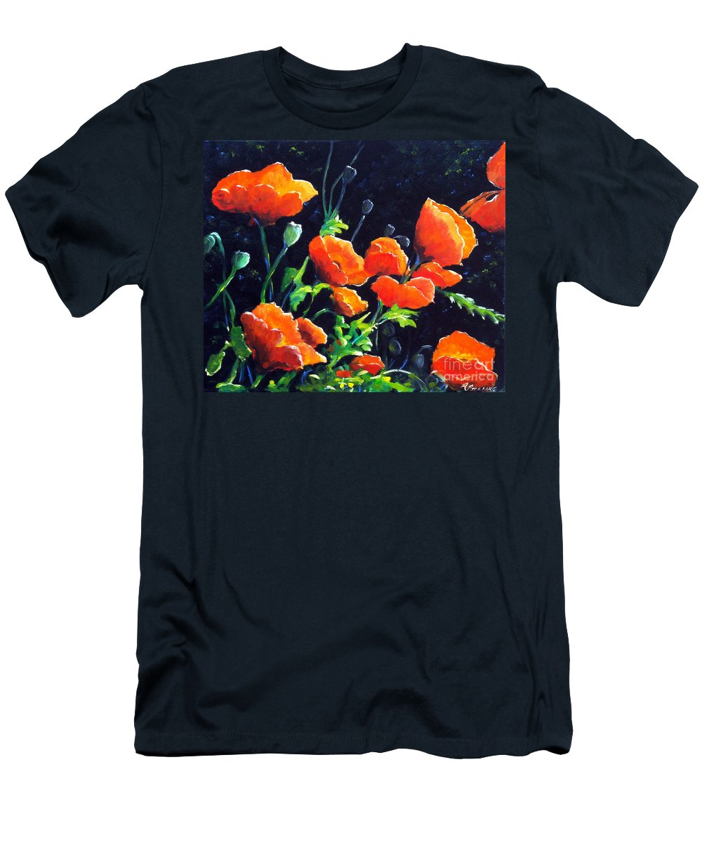 Pavot Men's T-Shirt (Athletic Fit) featuring the painting Poppies In The Light by Richard T Pranke
