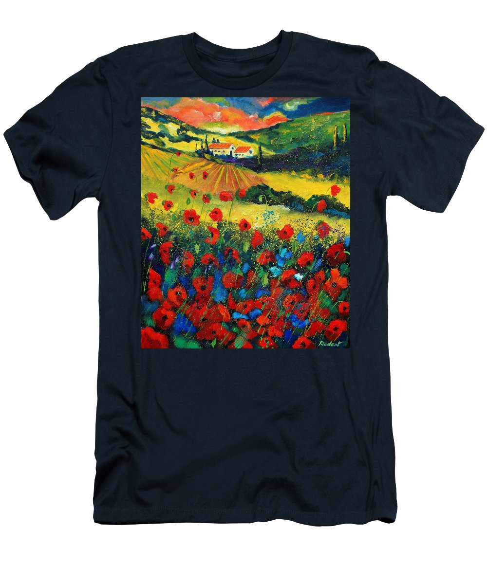 Flowers Men's T-Shirt (Athletic Fit) featuring the painting Poppies In Tuscany by Pol Ledent