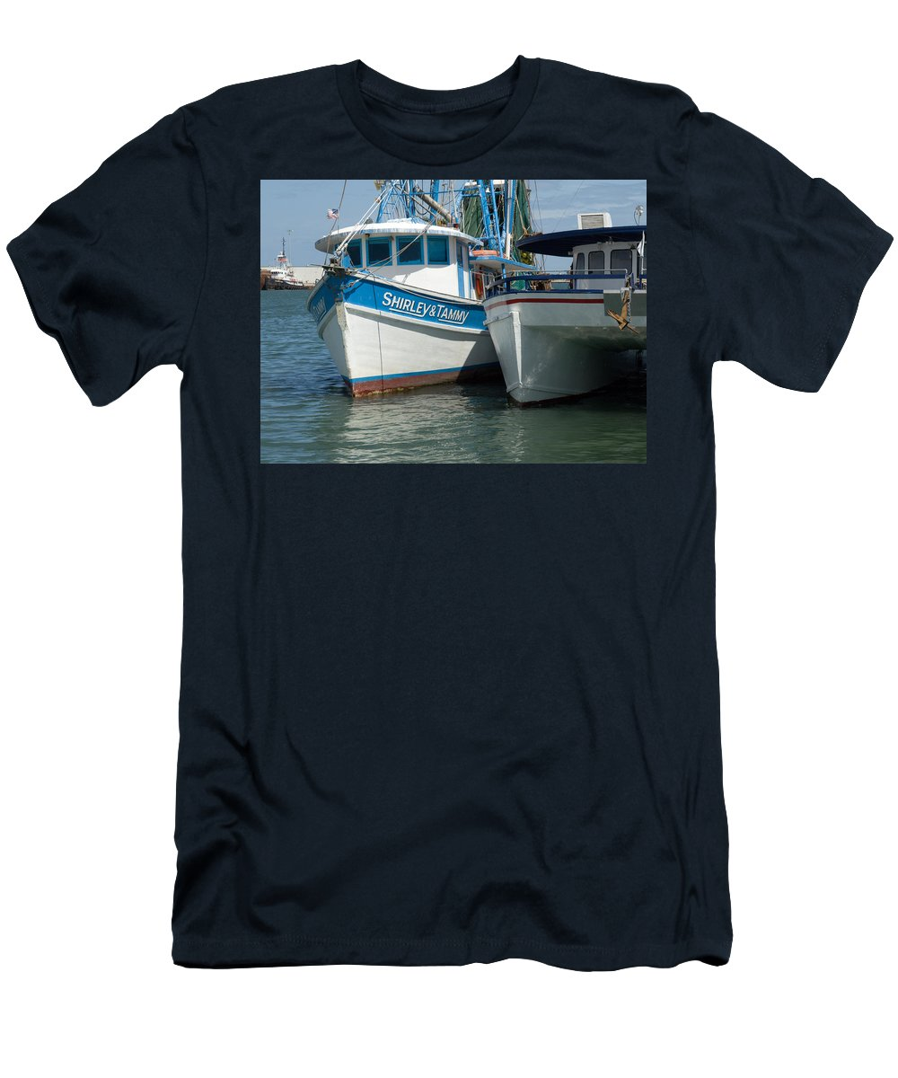 Florida; Usa; Boat; Fishing; Boats; Party; Shrimp; Shrimper; Shrimp; Port; Harbor; Harbour; Canavera Men's T-Shirt (Athletic Fit) featuring the photograph Port Canaveral In Florida by Allan Hughes