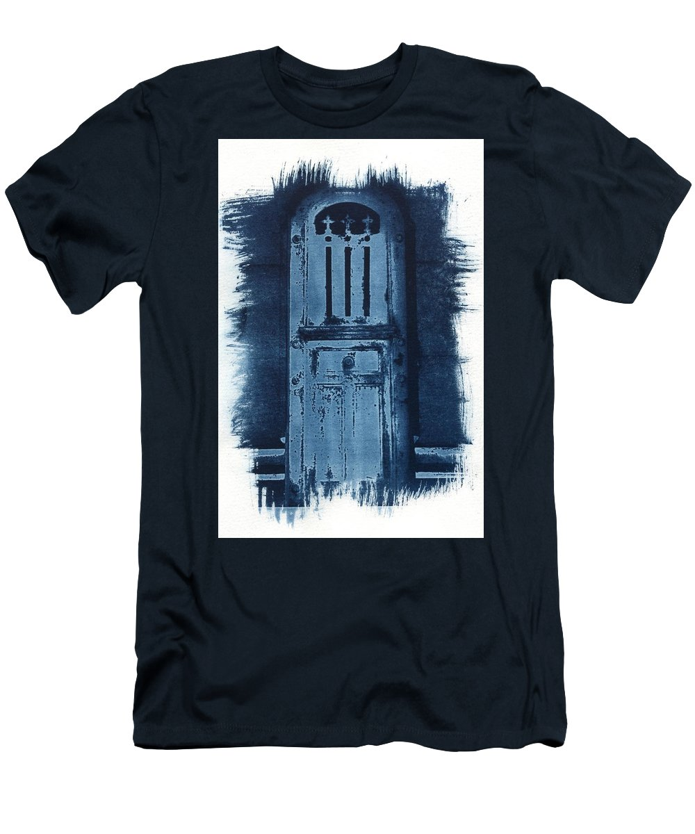 Cyanotype Men's T-Shirt (Athletic Fit) featuring the photograph Portals by Jane Linders