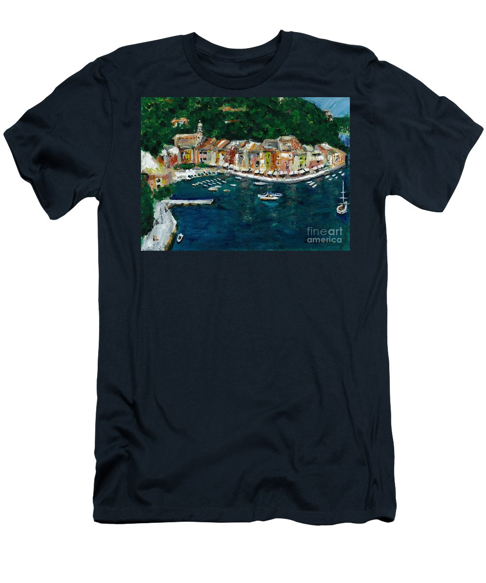 Abstact Italy Men's T-Shirt (Athletic Fit) featuring the painting Portifino Italy by Frances Marino