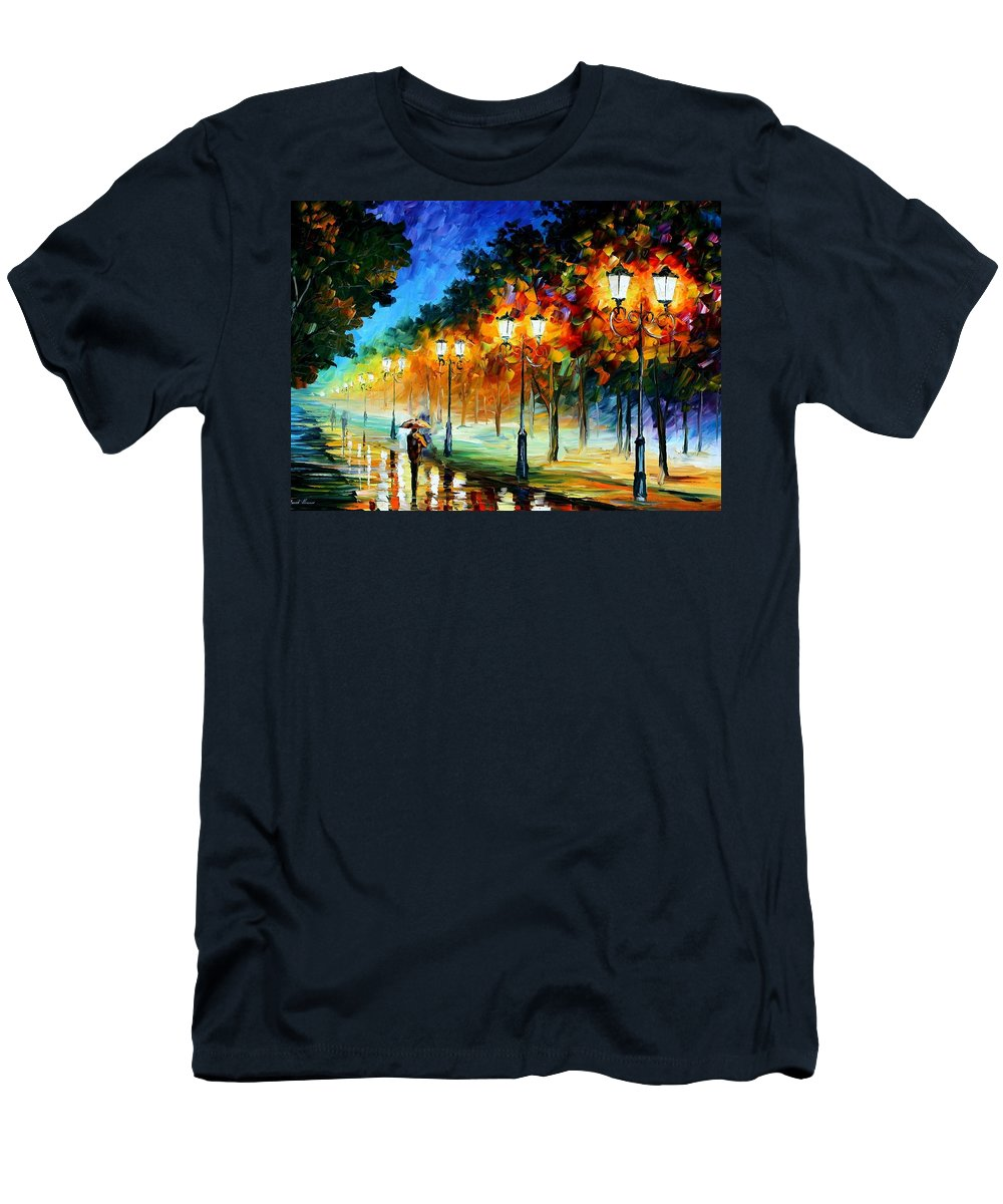 Afremov Men's T-Shirt (Athletic Fit) featuring the painting Prespective Of The Night by Leonid Afremov