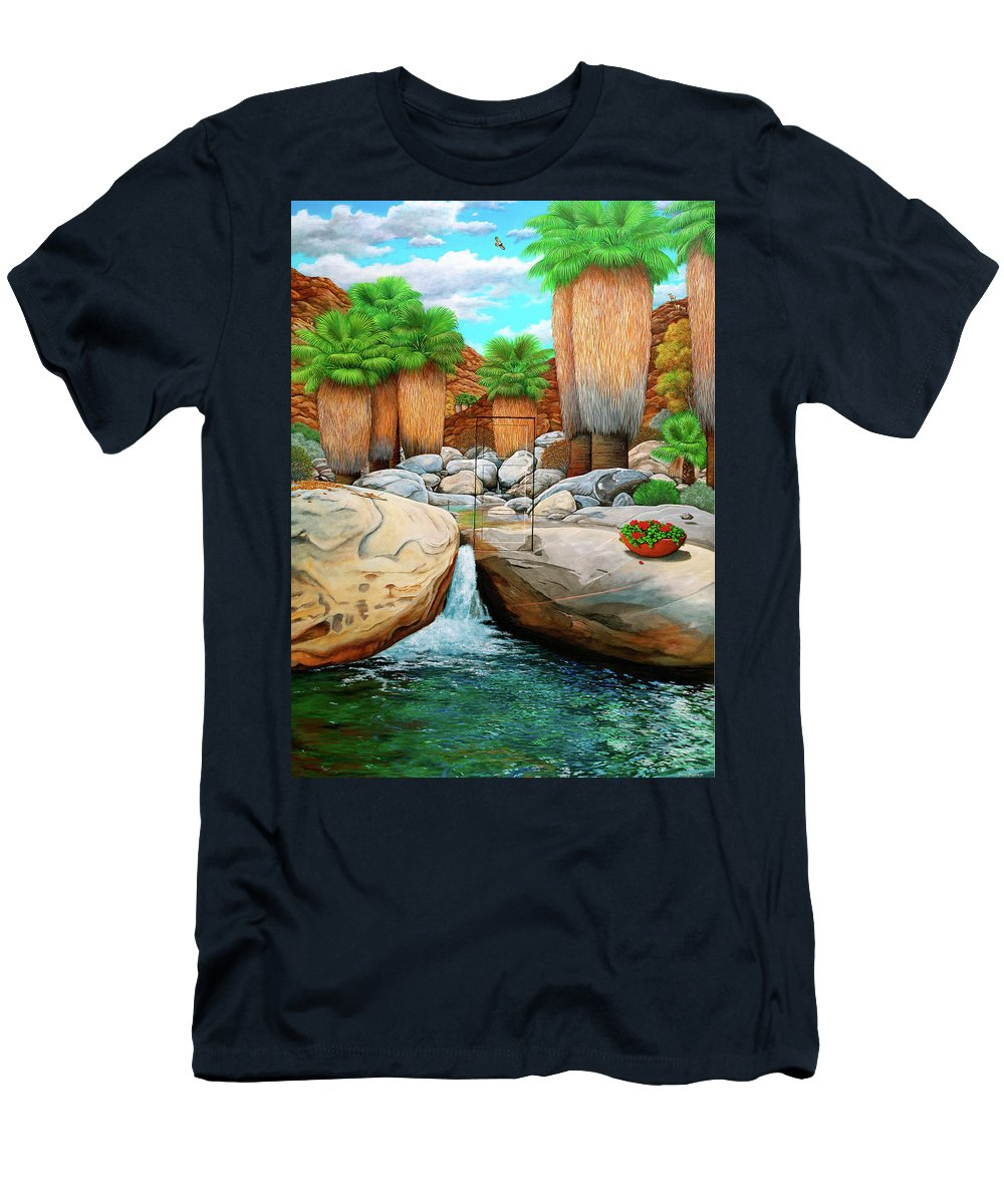 Landscape Men's T-Shirt (Athletic Fit) featuring the painting Primary Escape Route by Snake Jagger