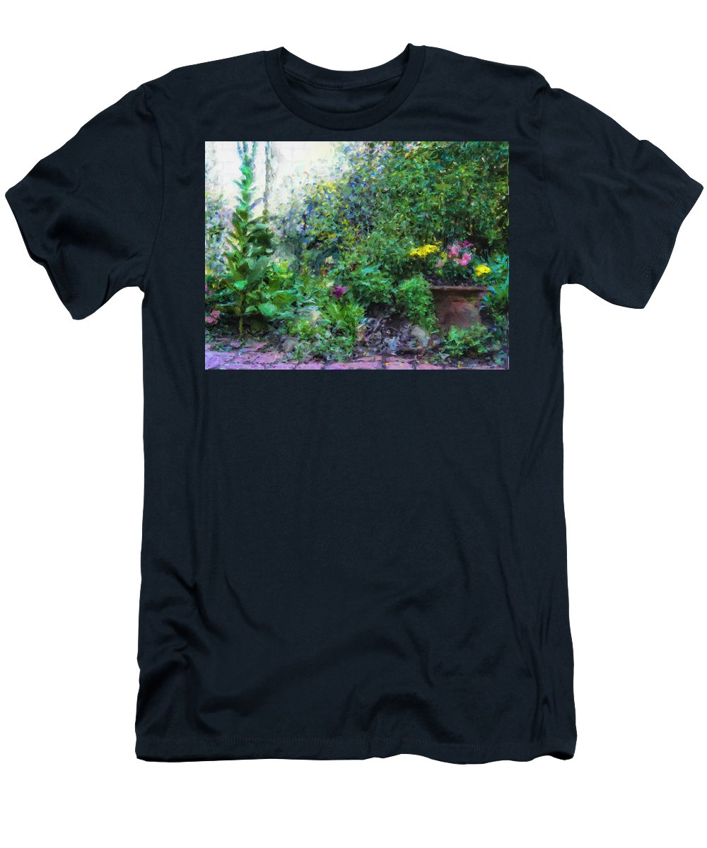 Garden Men's T-Shirt (Athletic Fit) featuring the painting Private Garden by  DonaRose