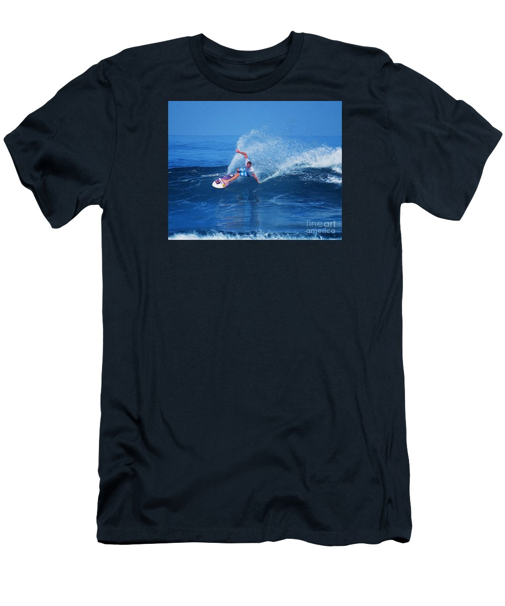 Professional-surfer-surfers Men's T-Shirt (Athletic Fit) featuring the photograph Pro Surfer Jamie O Brien #1 by Scott Cameron