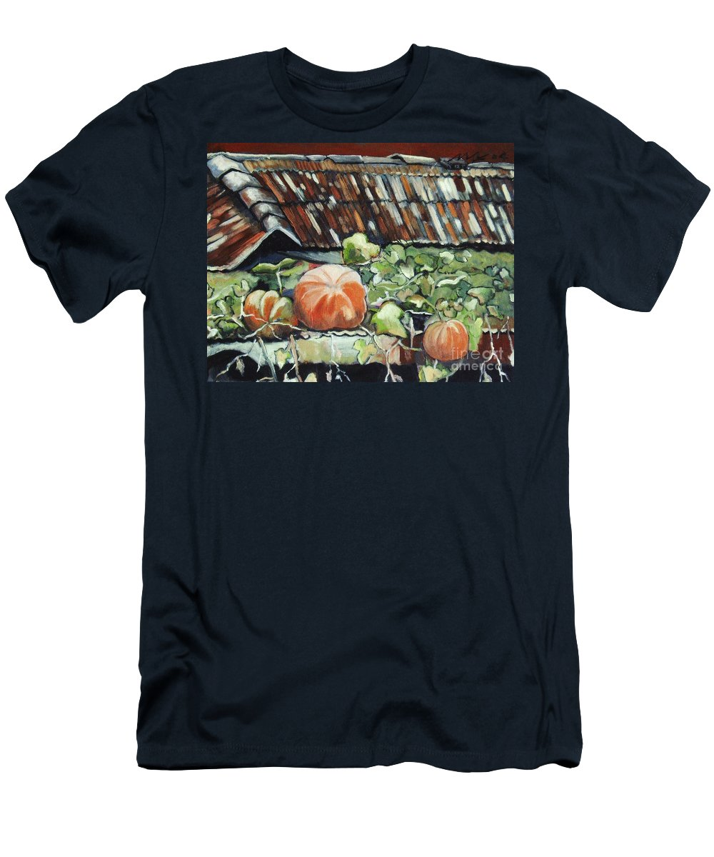 Pumpkin Paintings Men's T-Shirt (Athletic Fit) featuring the painting Pumpkins On Roof by Seon-Jeong Kim