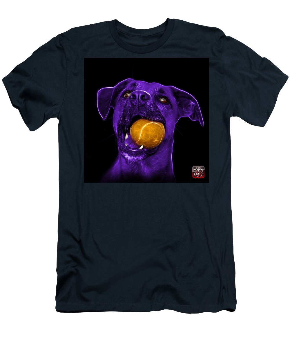 Dog Men's T-Shirt (Athletic Fit) featuring the mixed media Purple Boxer Mix Dog Art - 8173 - Bb by James Ahn