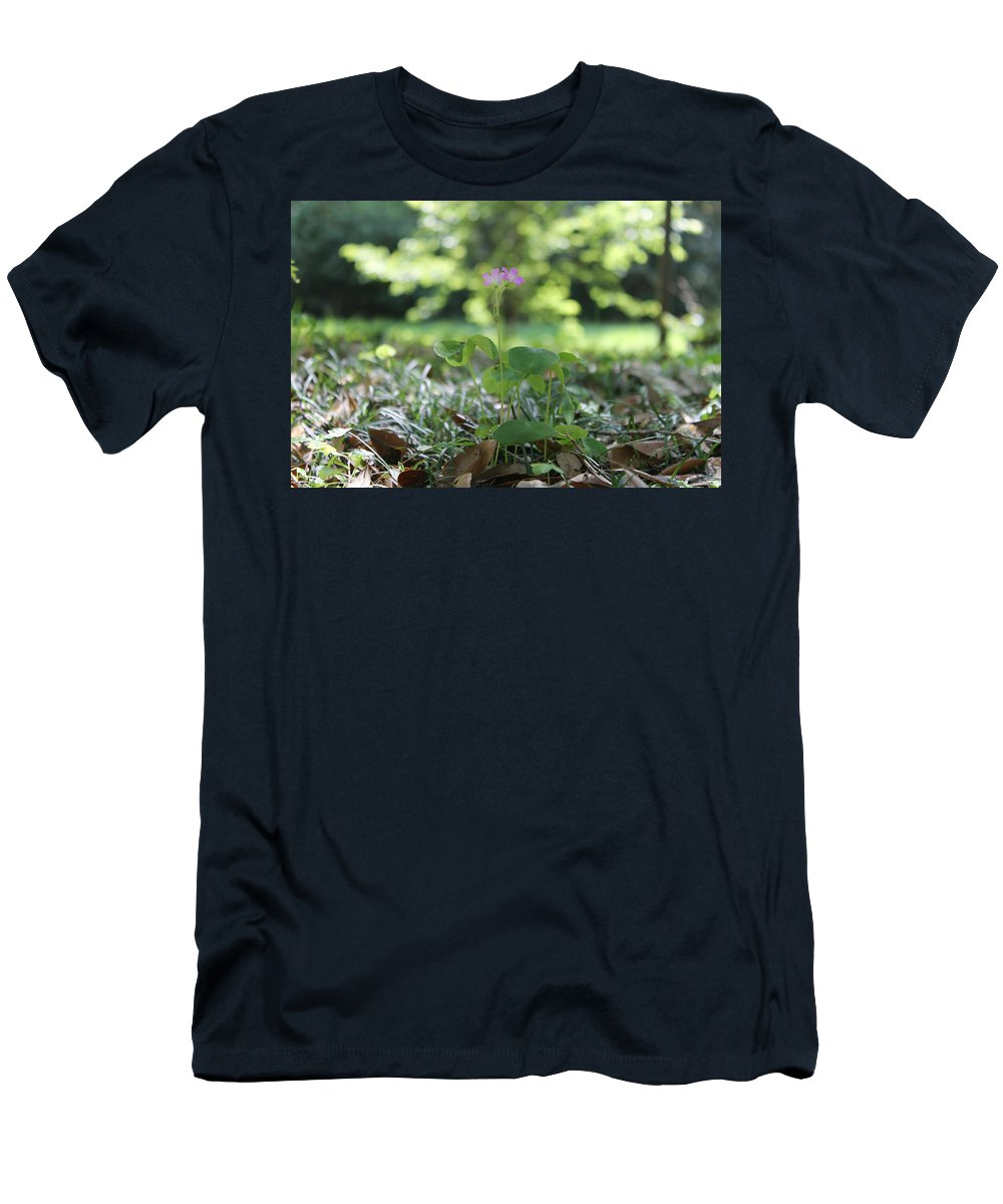 Flower Men's T-Shirt (Athletic Fit) featuring the photograph Purple Persists by Laura Martin