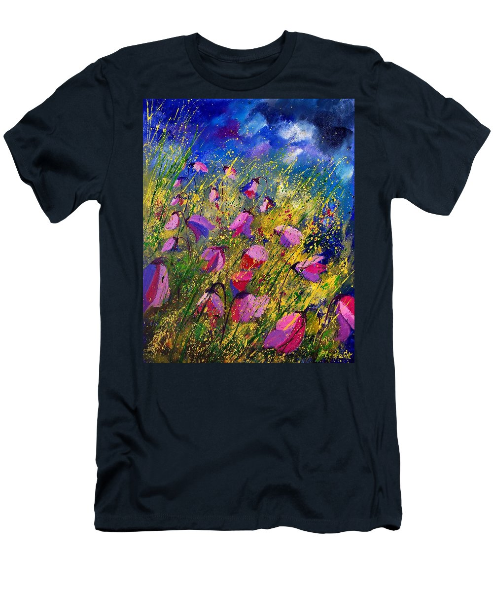 Poppies Men's T-Shirt (Athletic Fit) featuring the painting Purple Wild Flowers by Pol Ledent