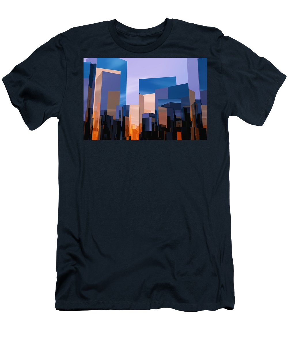 Abstractly Men's T-Shirt (Athletic Fit) featuring the digital art Q-city One by Max Steinwald