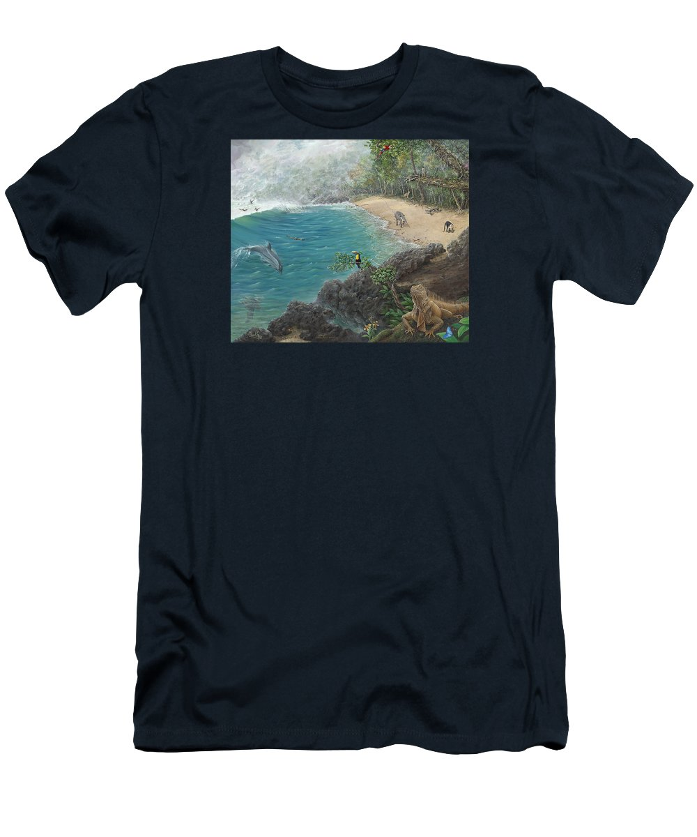 Landscape Men's T-Shirt (Athletic Fit) featuring the painting Rain Forest by Manuel Gonzalez