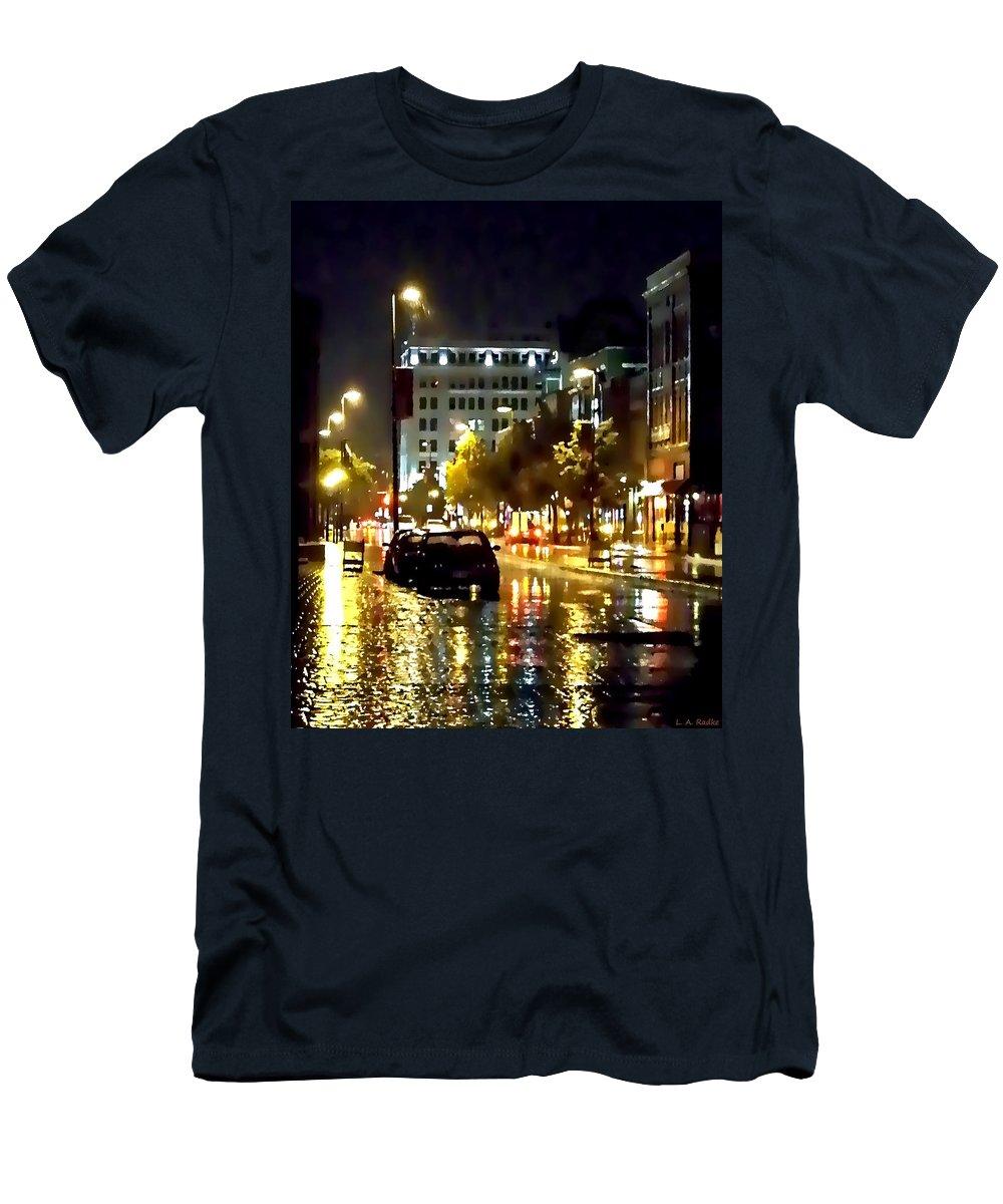 Lauren Radke Men's T-Shirt (Athletic Fit) featuring the photograph Rainy Night In Green Bay by Lauren Radke