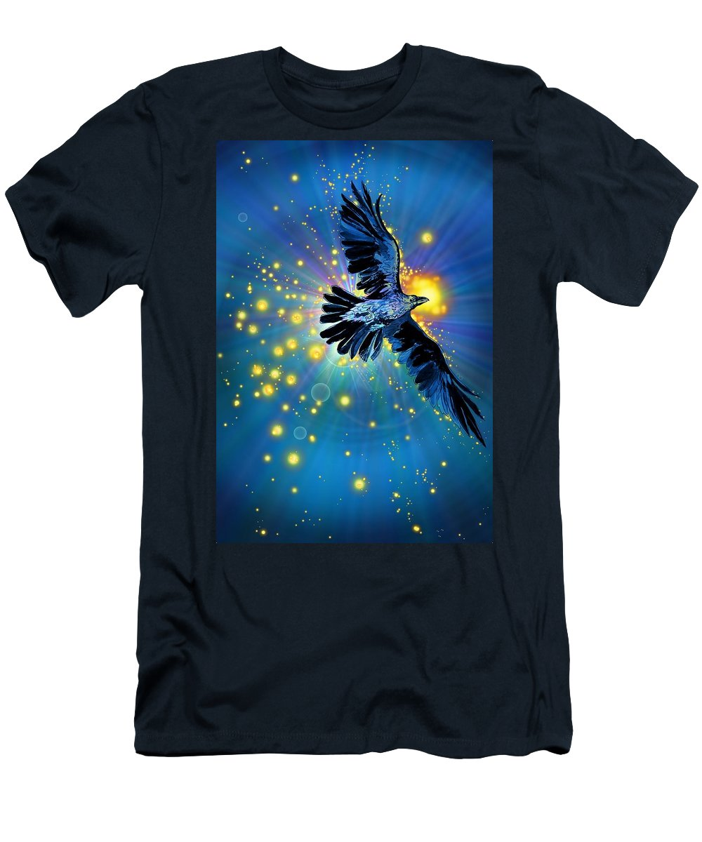 Bird Men's T-Shirt (Athletic Fit) featuring the drawing Raven First Bird by Katherine Nutt