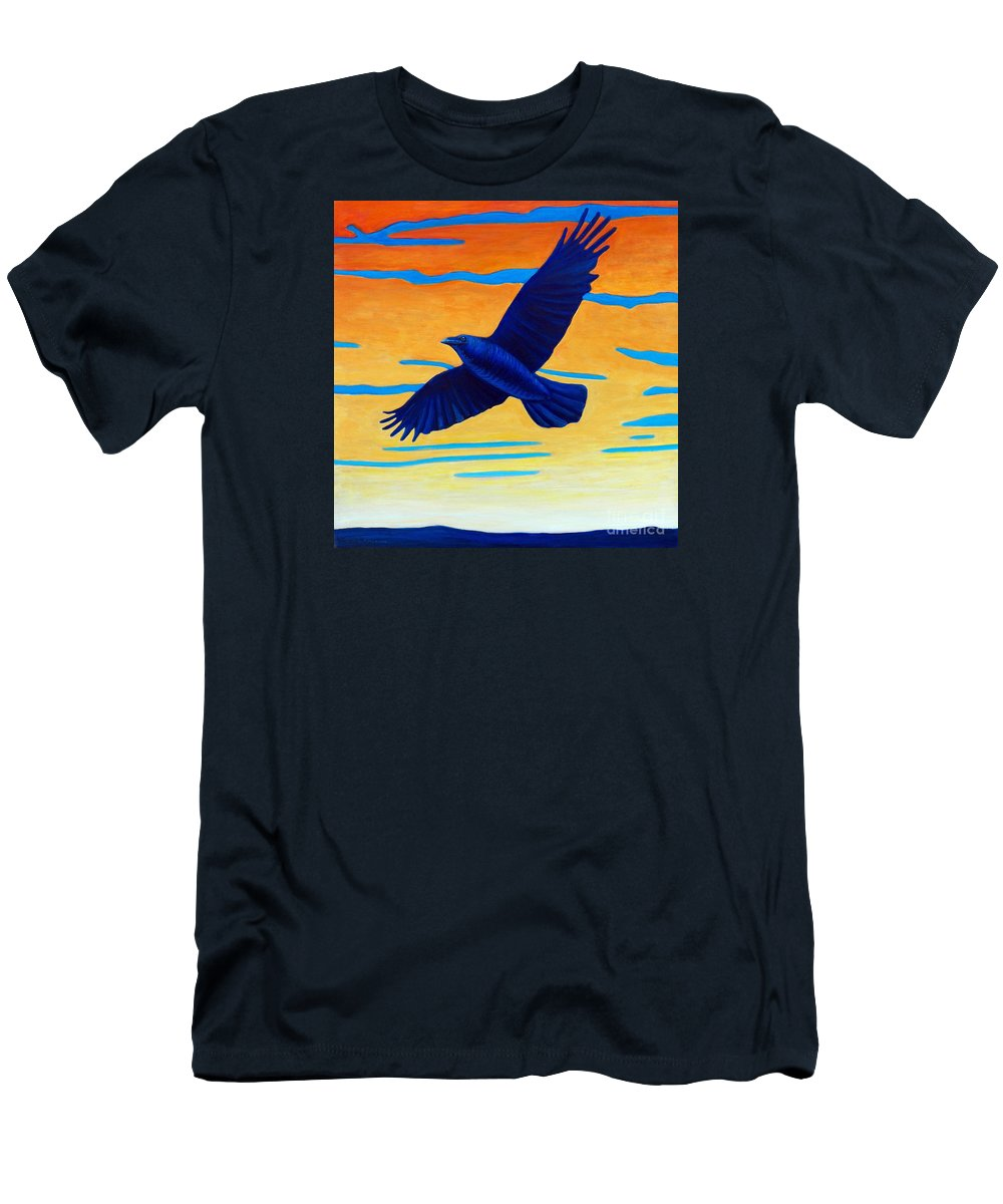 Raven Men's T-Shirt (Athletic Fit) featuring the painting Raven Rising by Brian Commerford