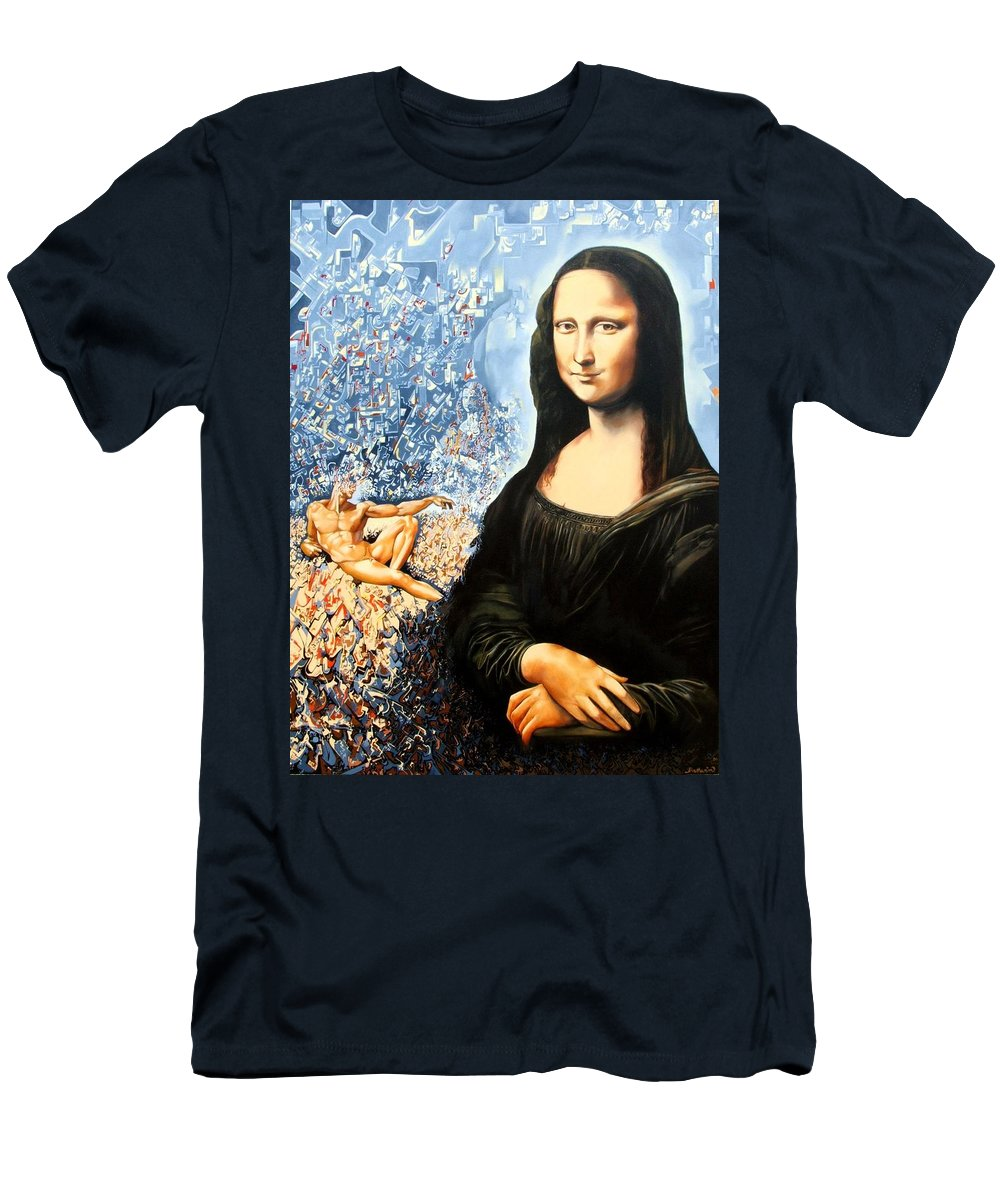 Surrealism Men's T-Shirt (Athletic Fit) featuring the painting Reconstruction Of High Renaissance by Darwin Leon