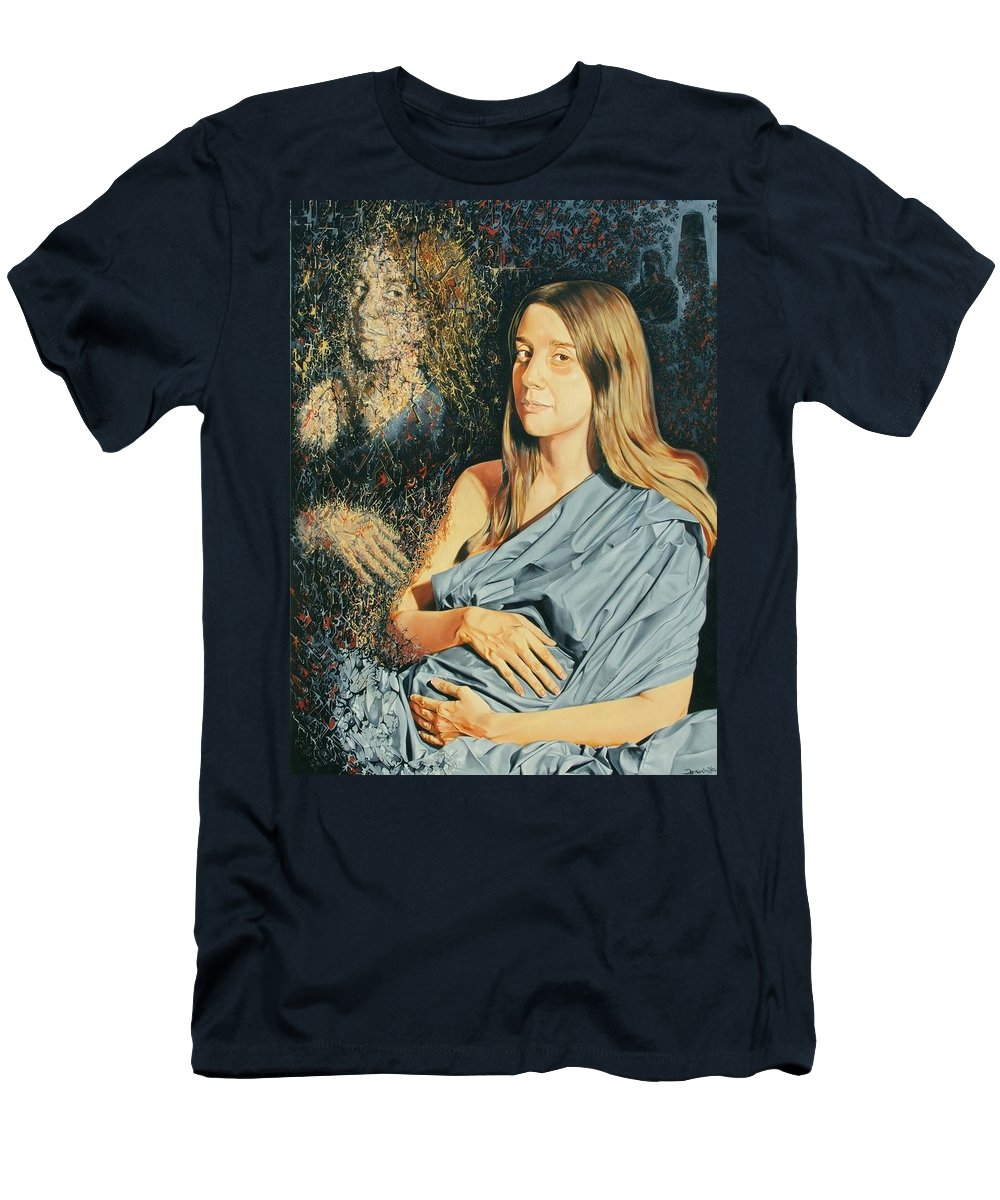 Surrealism Men's T-Shirt (Athletic Fit) featuring the painting Reconstruction Of The Classical Madonna by Darwin Leon