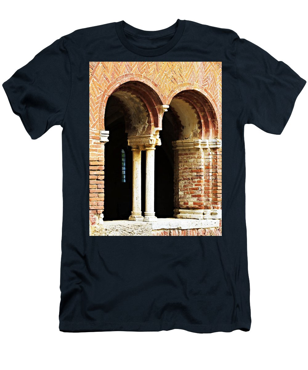 Red Men's T-Shirt (Athletic Fit) featuring the photograph Red Brick Archway Soft by Marilyn Hunt