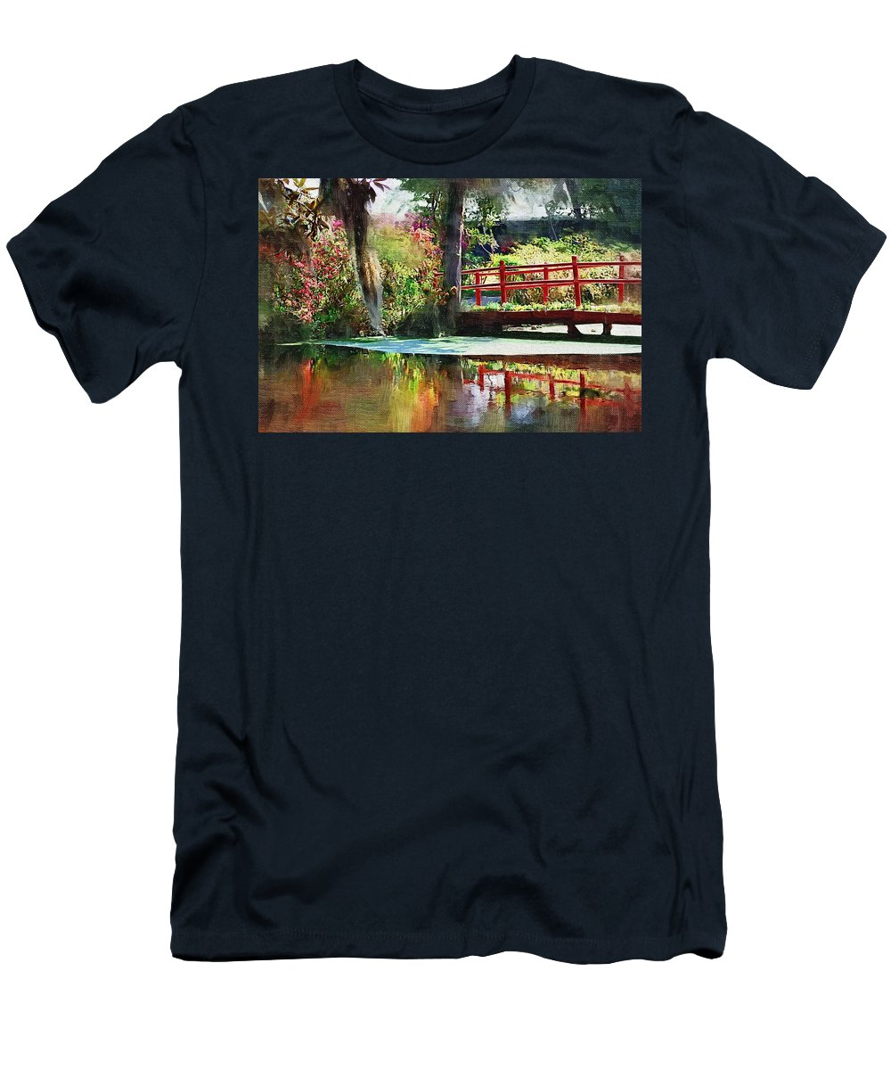 Red Bridge Men's T-Shirt (Athletic Fit) featuring the photograph Red Bridge by Donna Bentley