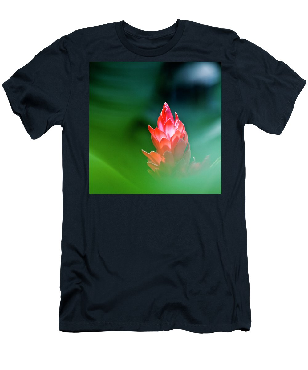 Ginger Flower Men's T-Shirt (Athletic Fit) featuring the photograph Red Ginger by Heiko Koehrer-Wagner