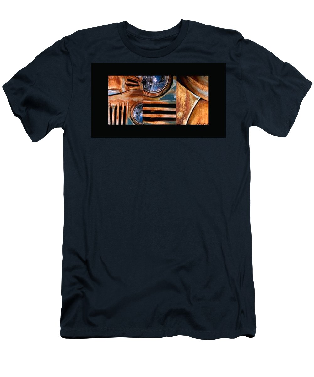 Abstract Photo Of Chevy Truck Men's T-Shirt (Slim Fit) featuring the photograph Red Head On by Steve Karol