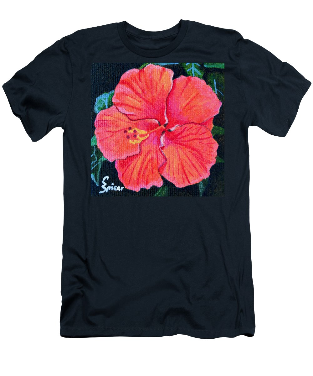Red Men's T-Shirt (Athletic Fit) featuring the painting Red Hibiscus by Christopher Spicer