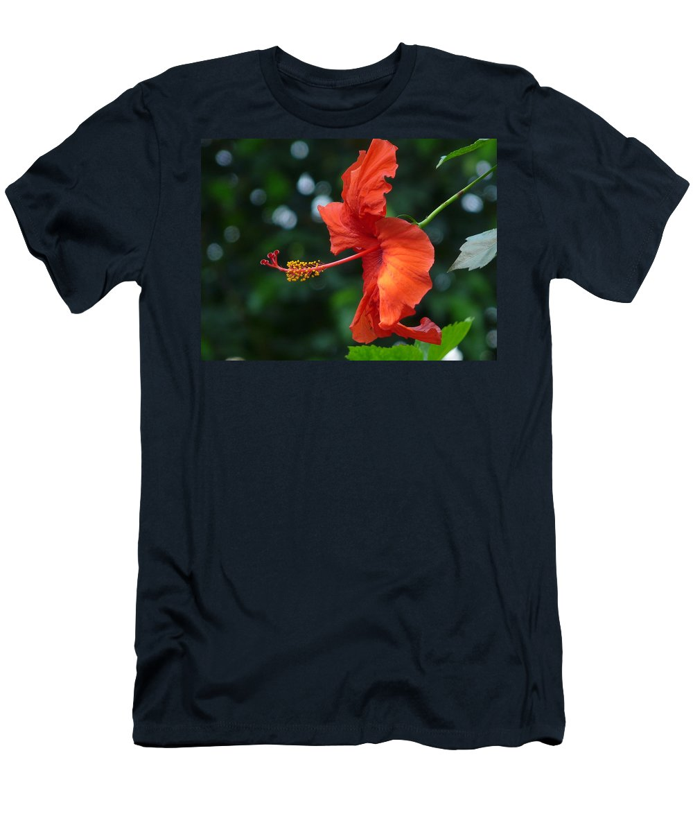 Flower Men's T-Shirt (Athletic Fit) featuring the photograph Red Hibiscus by Valerie Ornstein