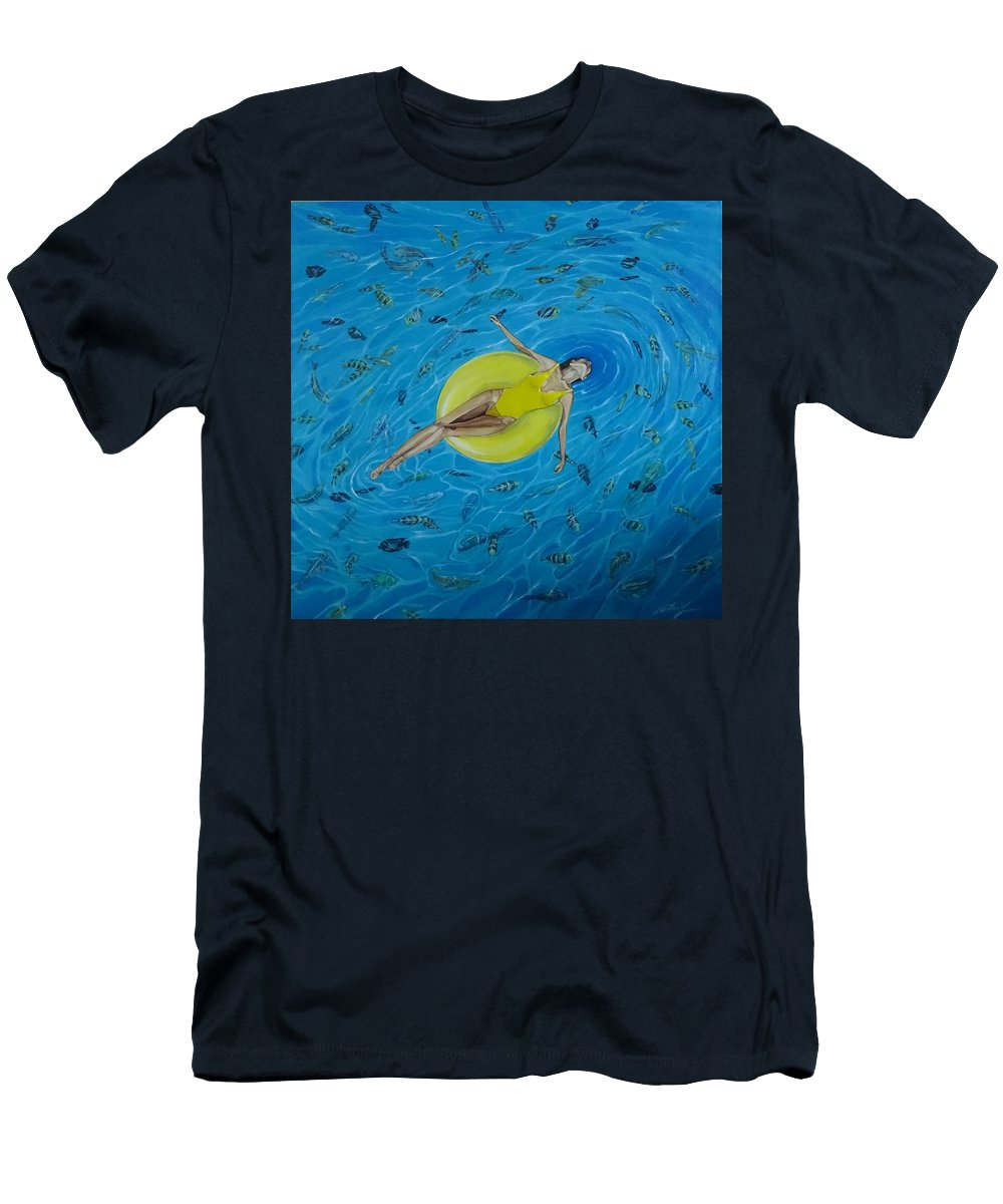 Sea Men's T-Shirt (Athletic Fit) featuring the painting Red Sea by Polina Kamenska