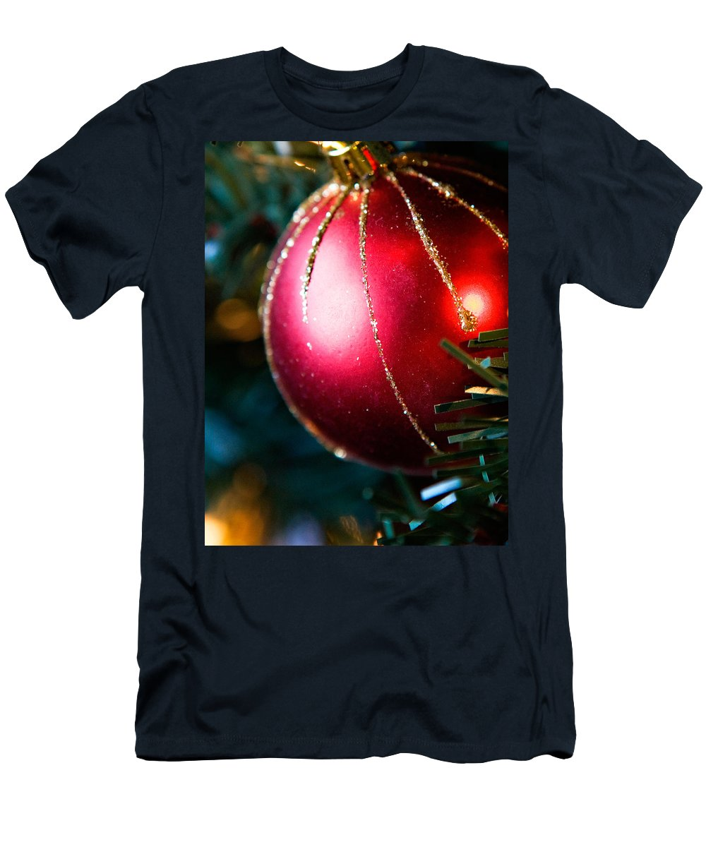 Red Men's T-Shirt (Athletic Fit) featuring the photograph Red Shiny Ornament by Marilyn Hunt
