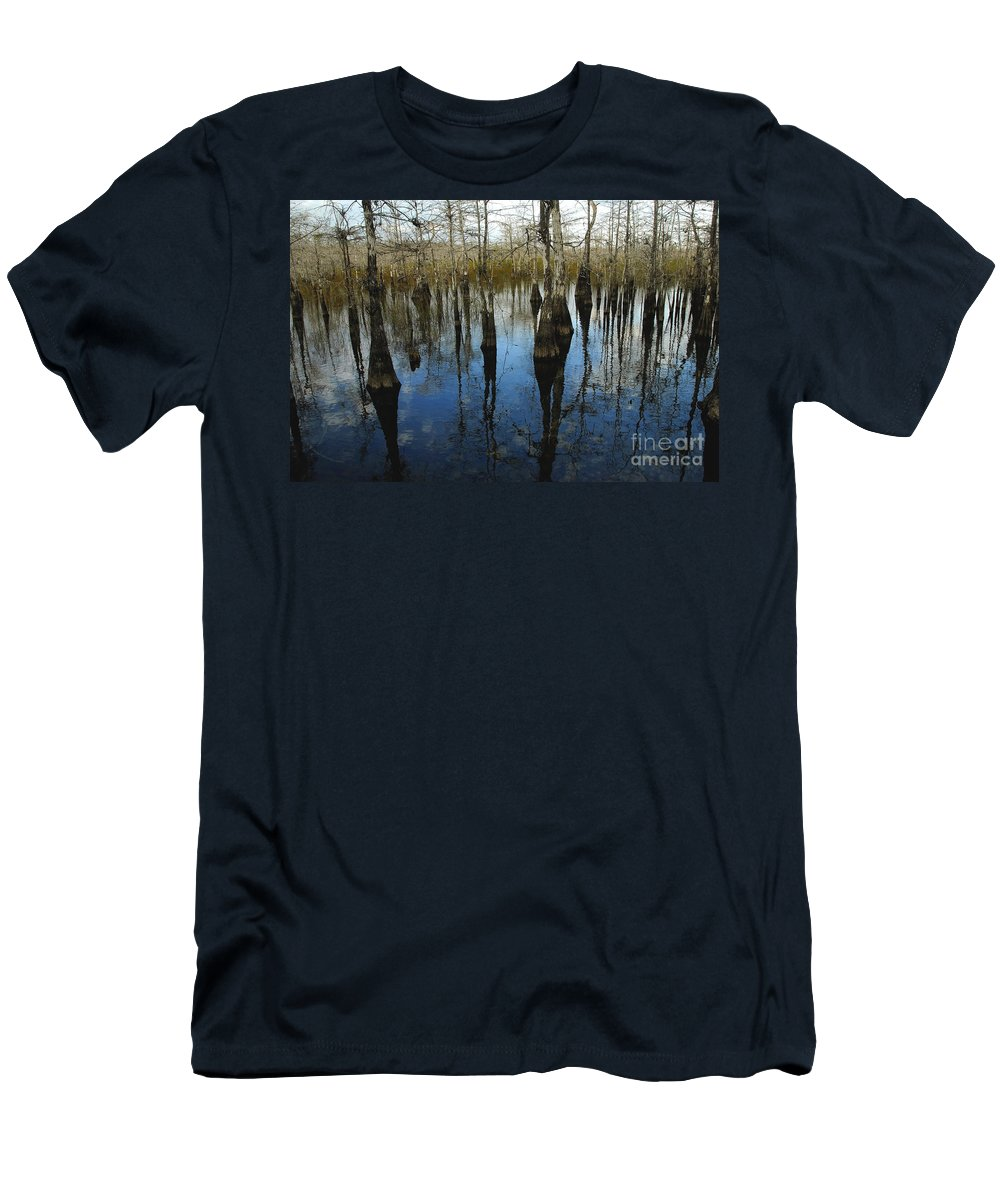 Bald Cypress Trees Men's T-Shirt (Athletic Fit) featuring the photograph Reflections At Big Cypress by David Lee Thompson