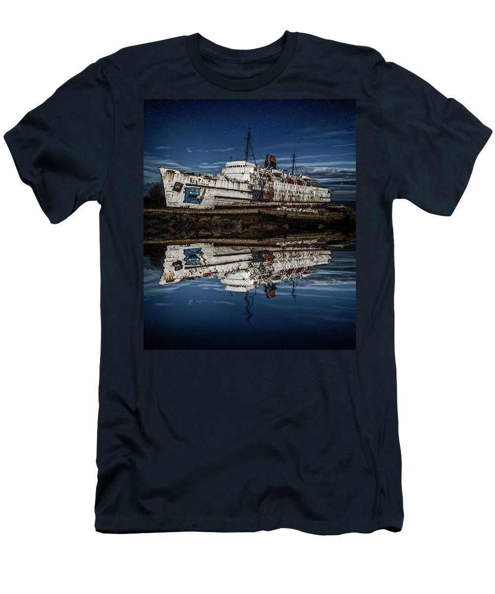 Ship Men's T-Shirt (Athletic Fit) featuring the photograph Reflections From The Duke Of Lancaster Ship by Andrew White