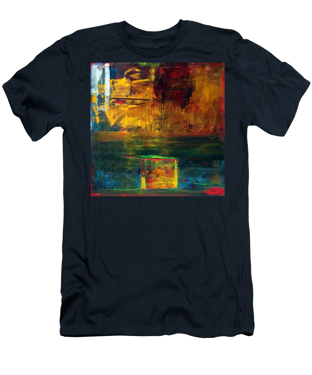 New York City Reflection Red Yellow Blue Green Men's T-Shirt (Athletic Fit) featuring the painting Reflections Of New York by Jack Diamond