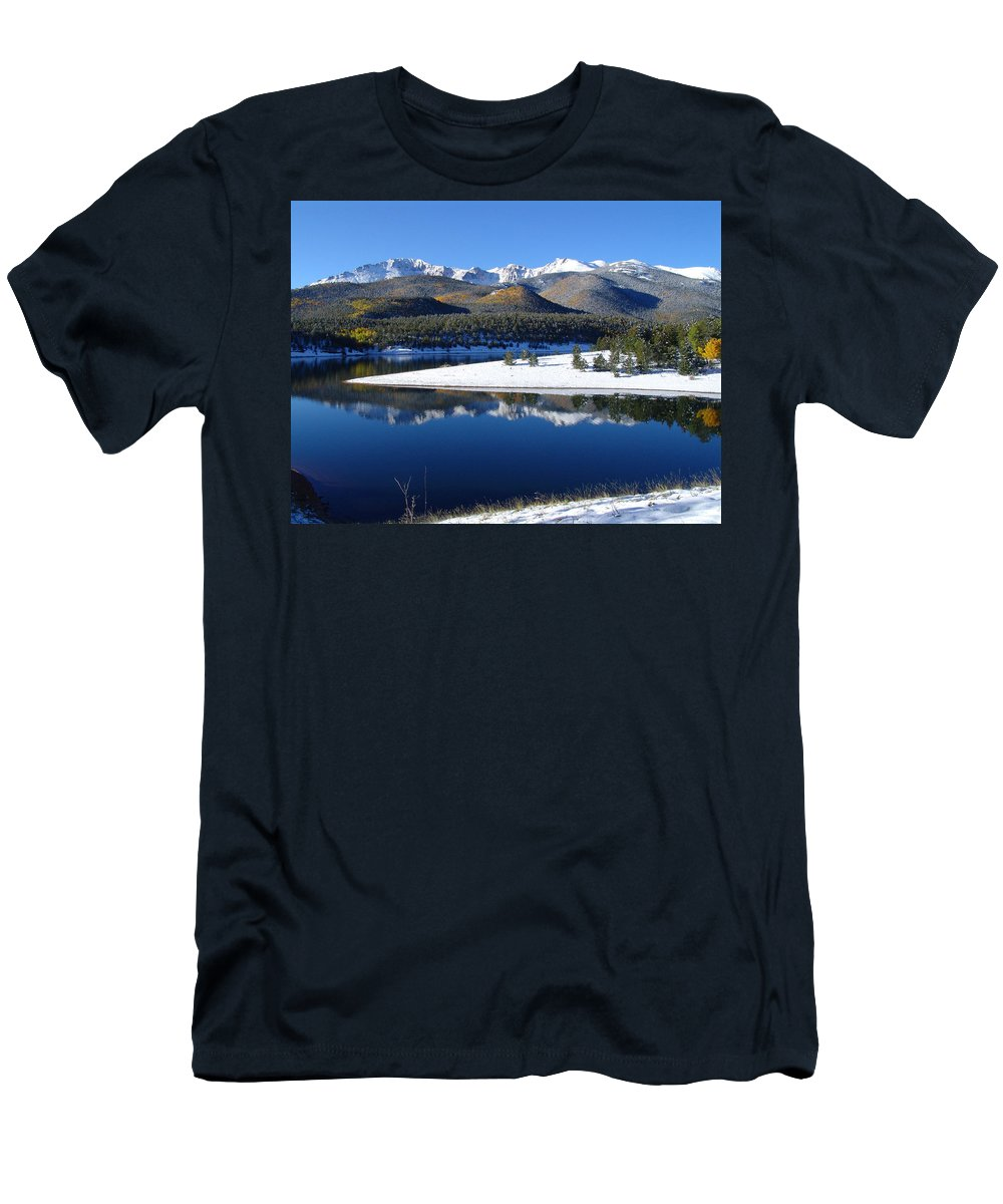 Landscape Men's T-Shirt (Athletic Fit) featuring the photograph Reflections Of Pikes Peak In Crystal Reservoir by Carol Milisen