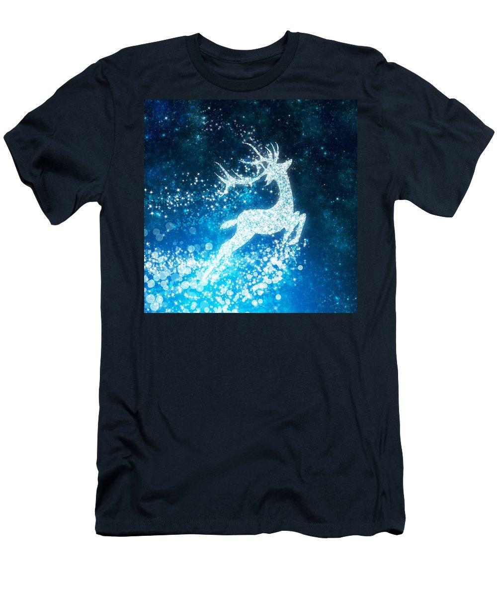 Animal Men's T-Shirt (Athletic Fit) featuring the photograph Reindeer Stars by Setsiri Silapasuwanchai