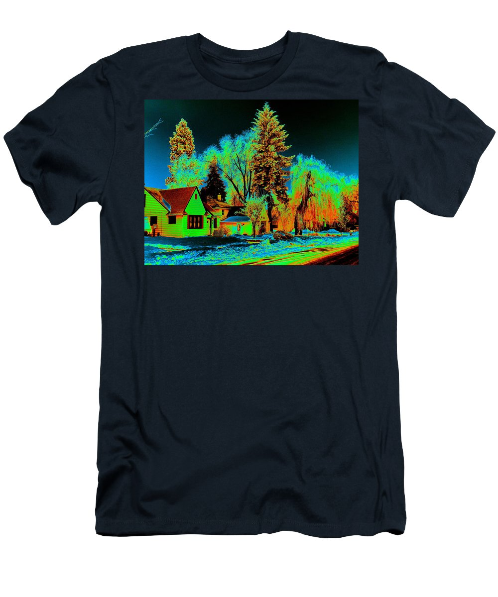 Spokane Men's T-Shirt (Athletic Fit) featuring the photograph Residential Spokane In Cosmic Winter by Ben Upham III
