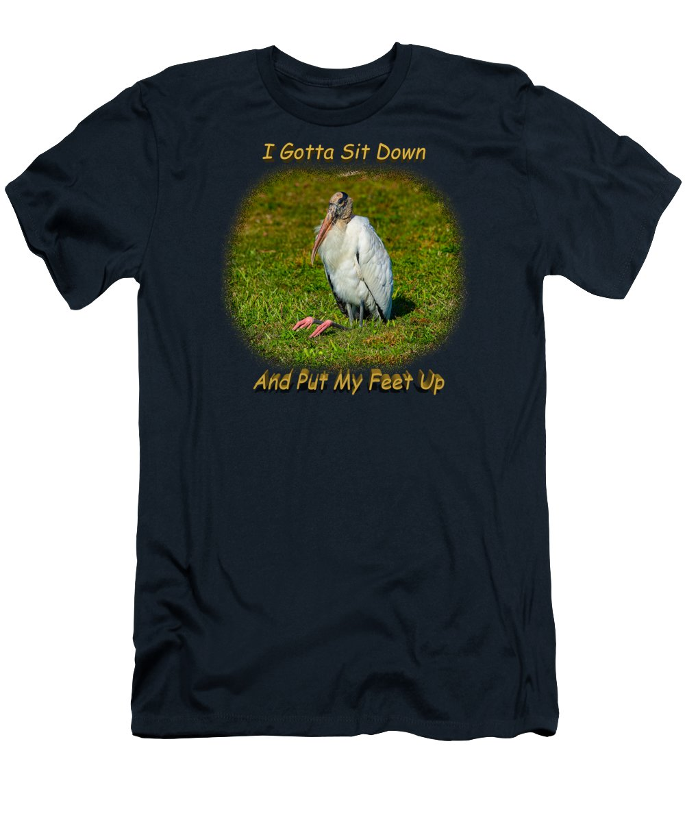 Shirts Men's T-Shirt (Athletic Fit) featuring the photograph Resting Woodstork by John M Bailey