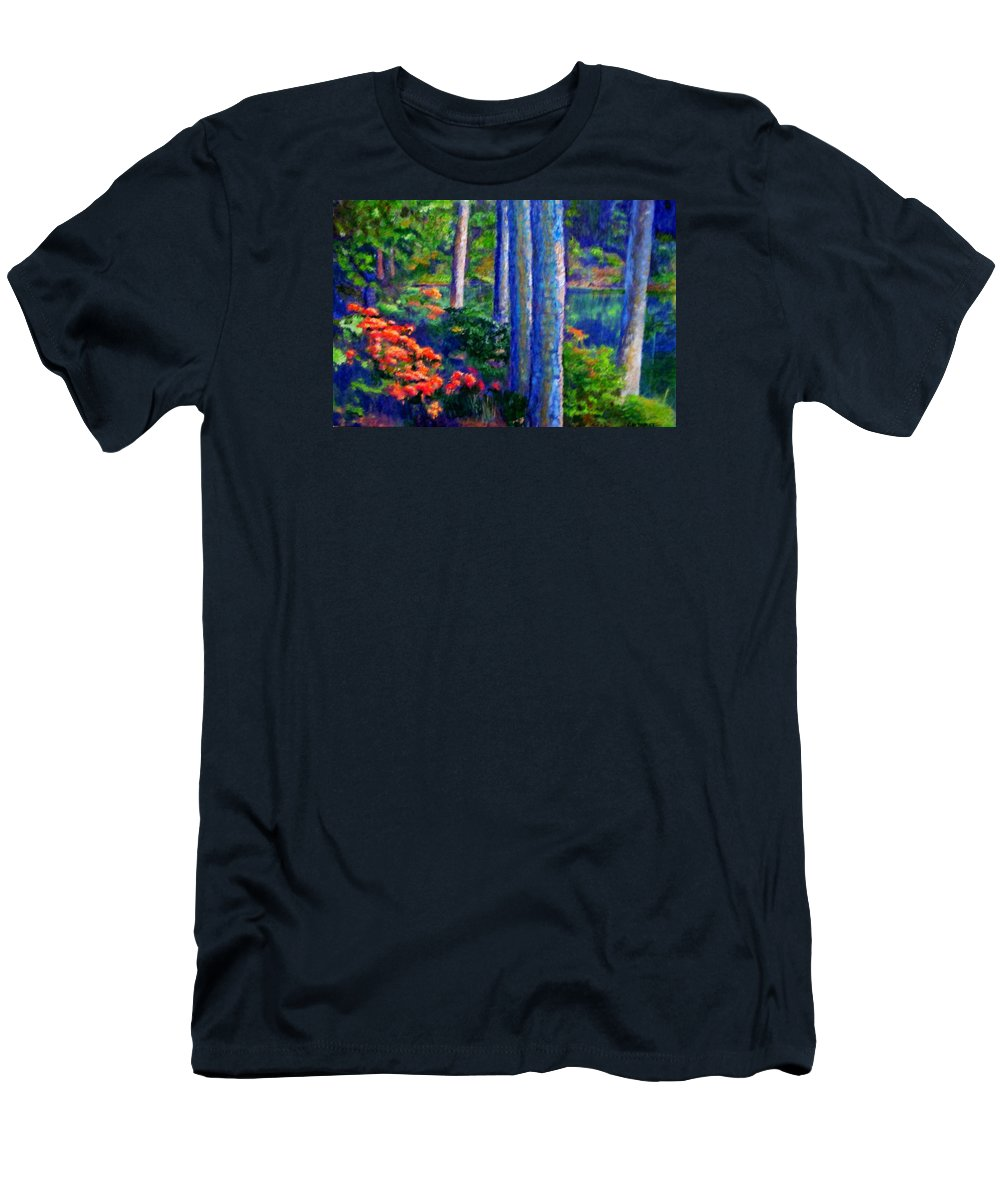 River Men's T-Shirt (Athletic Fit) featuring the painting Rivers Edge by Michael Durst