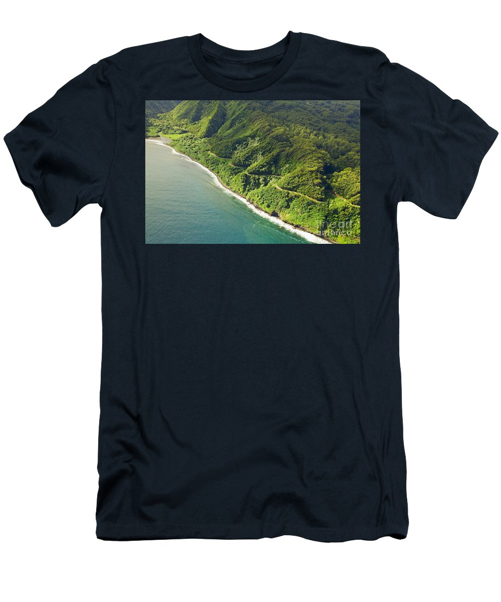 Aerial Men's T-Shirt (Athletic Fit) featuring the photograph Road To Hana by Ron Dahlquist - Printscapes