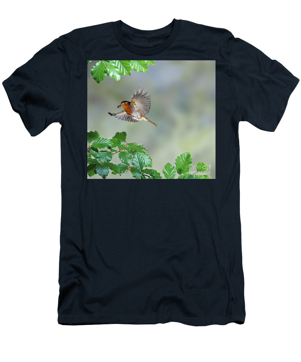 European Robin Men's T-Shirt (Athletic Fit) featuring the photograph Robin Flying To Nest by Warren Photographic