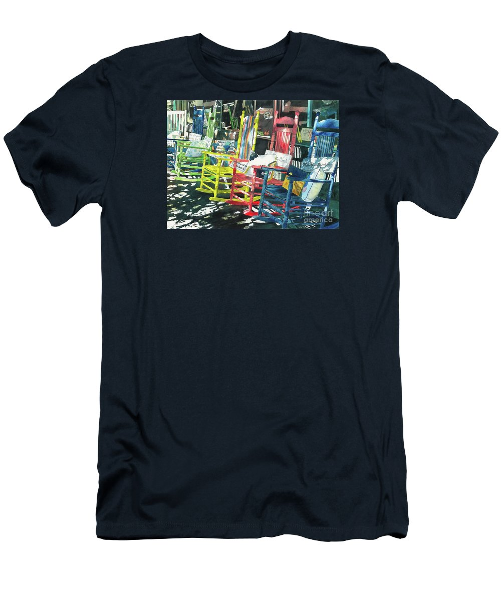 Chairs Men's T-Shirt (Athletic Fit) featuring the painting Rock On by LeAnne Sowa
