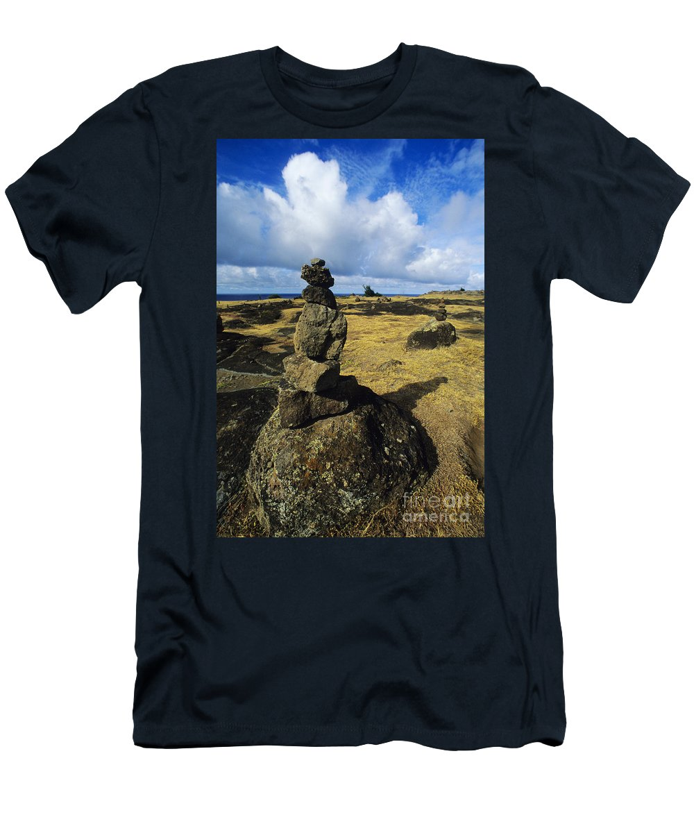 Afternoon Men's T-Shirt (Athletic Fit) featuring the photograph Rock Stacks by Carl Shaneff - Printscapes