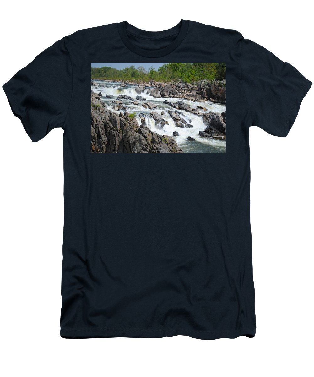 River Men's T-Shirt (Athletic Fit) featuring the photograph Rocks Of The Potomac by Jost Houk
