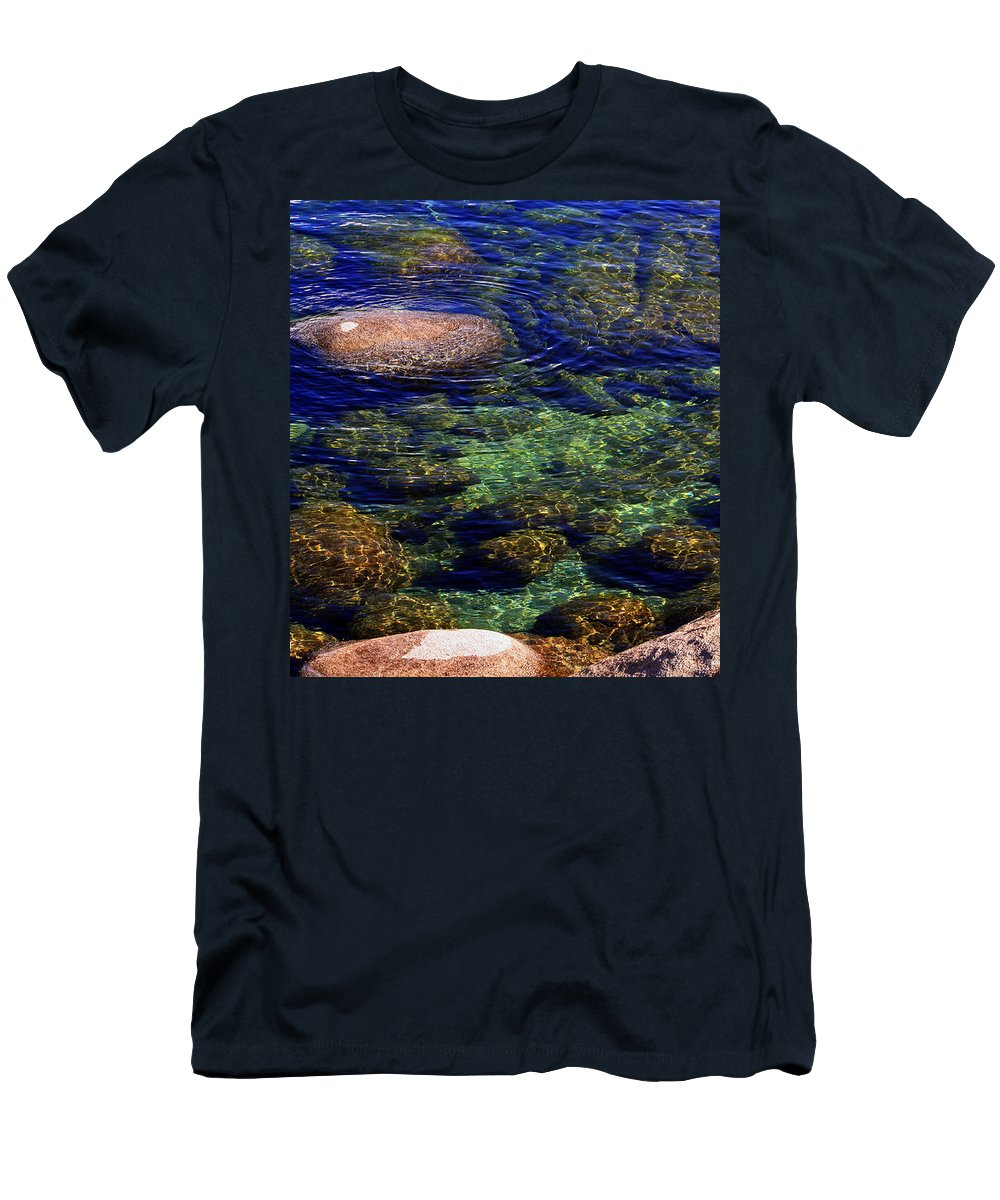 Water Men's T-Shirt (Athletic Fit) featuring the photograph Rocks Ripples And Reflections by Lynn Bawden