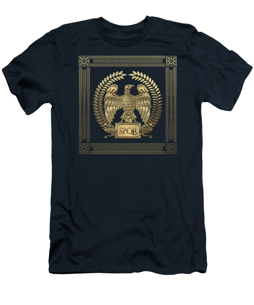 'treasures Of Rome' Collection By Serge Averbukh T-Shirt featuring the digital art Roman Empire - Gold Imperial Eagle Over Blue Velvet by Serge Averbukh