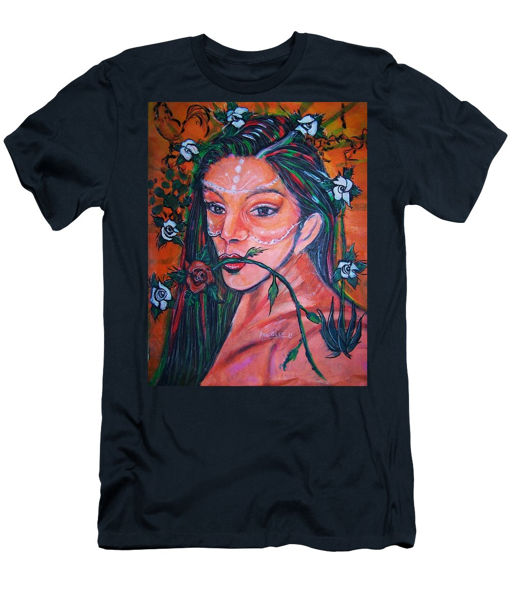 Latina Men's T-Shirt (Athletic Fit) featuring the painting Rosales Latina by Americo Salazar