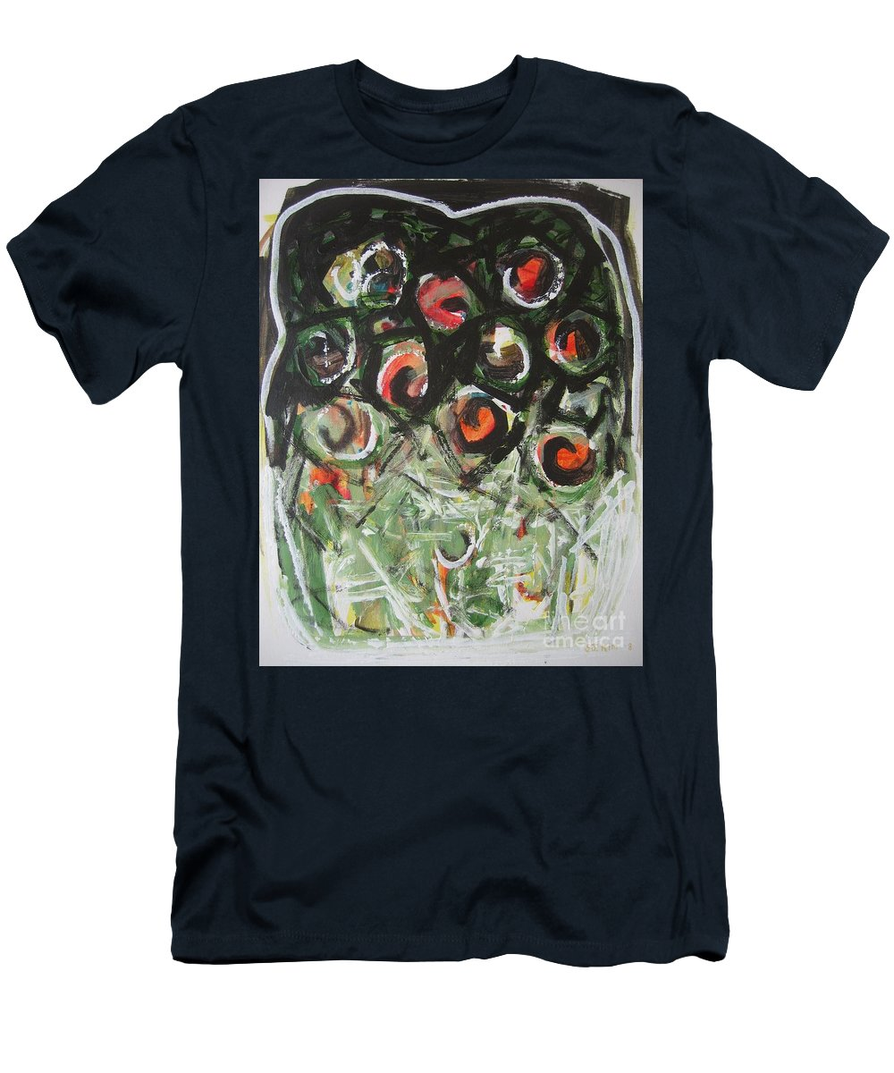 Abstract Painting Men's T-Shirt (Athletic Fit) featuring the painting Roses by Seon-Jeong Kim
