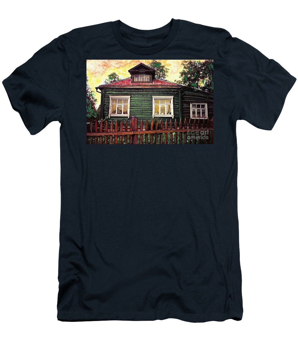 Russia Men's T-Shirt (Athletic Fit) featuring the mixed media Russian House 2 by Sarah Loft