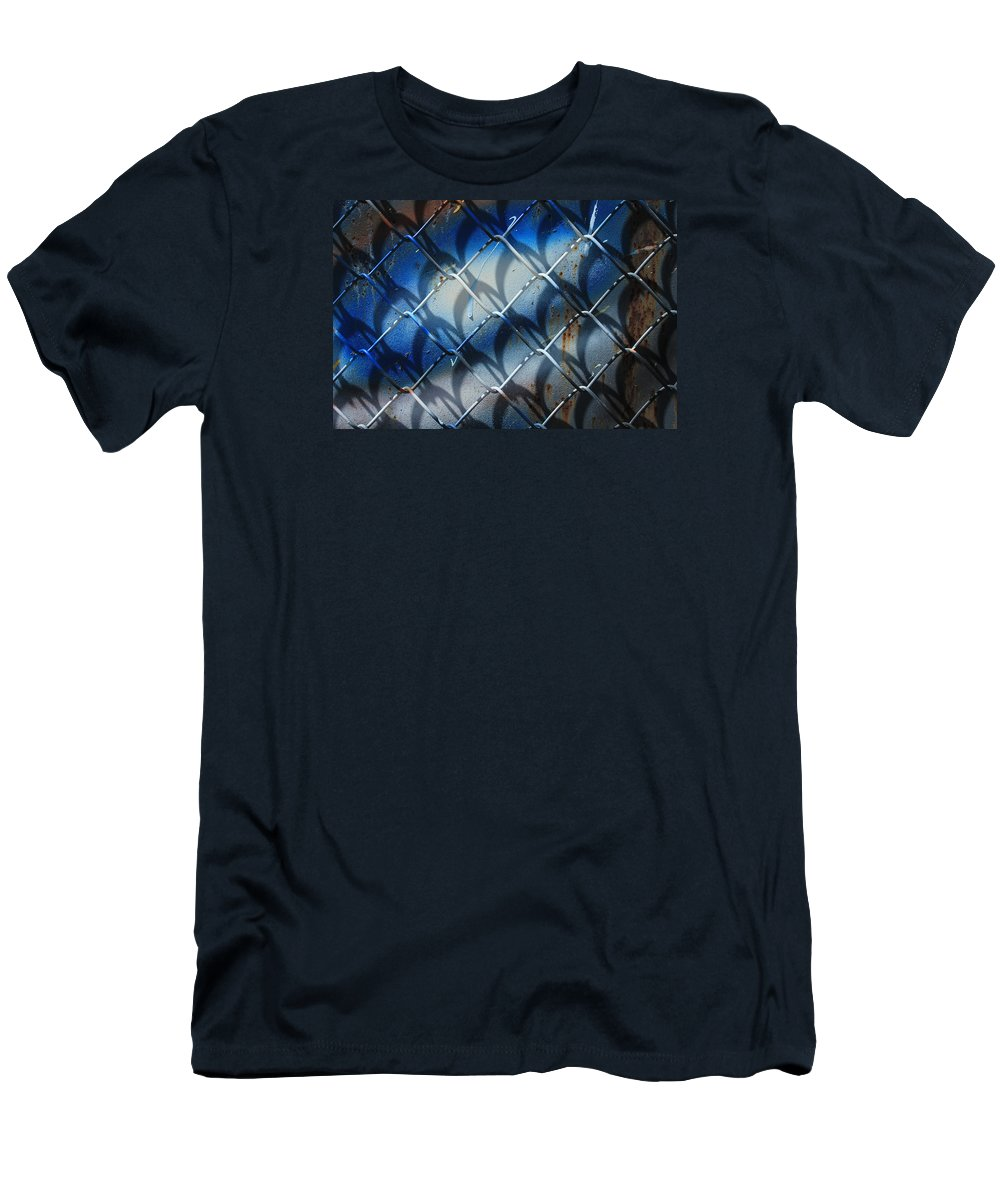 Abstract Men's T-Shirt (Athletic Fit) featuring the photograph Rusted Fence With Blue Paint by Robert Hamm