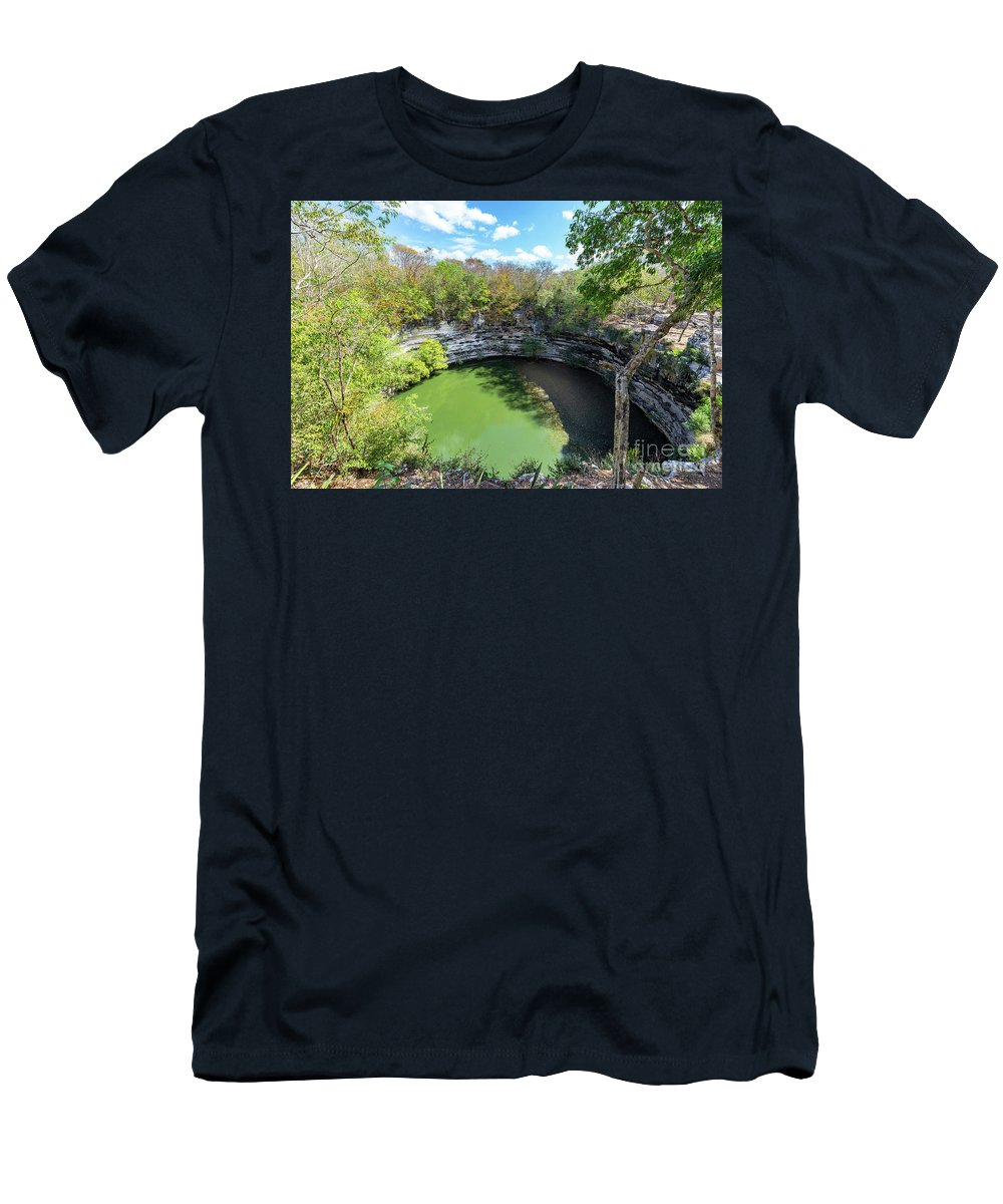 Cenote Men's T-Shirt (Athletic Fit) featuring the photograph Sacred Cenote In Chichen Itza by Jess Kraft