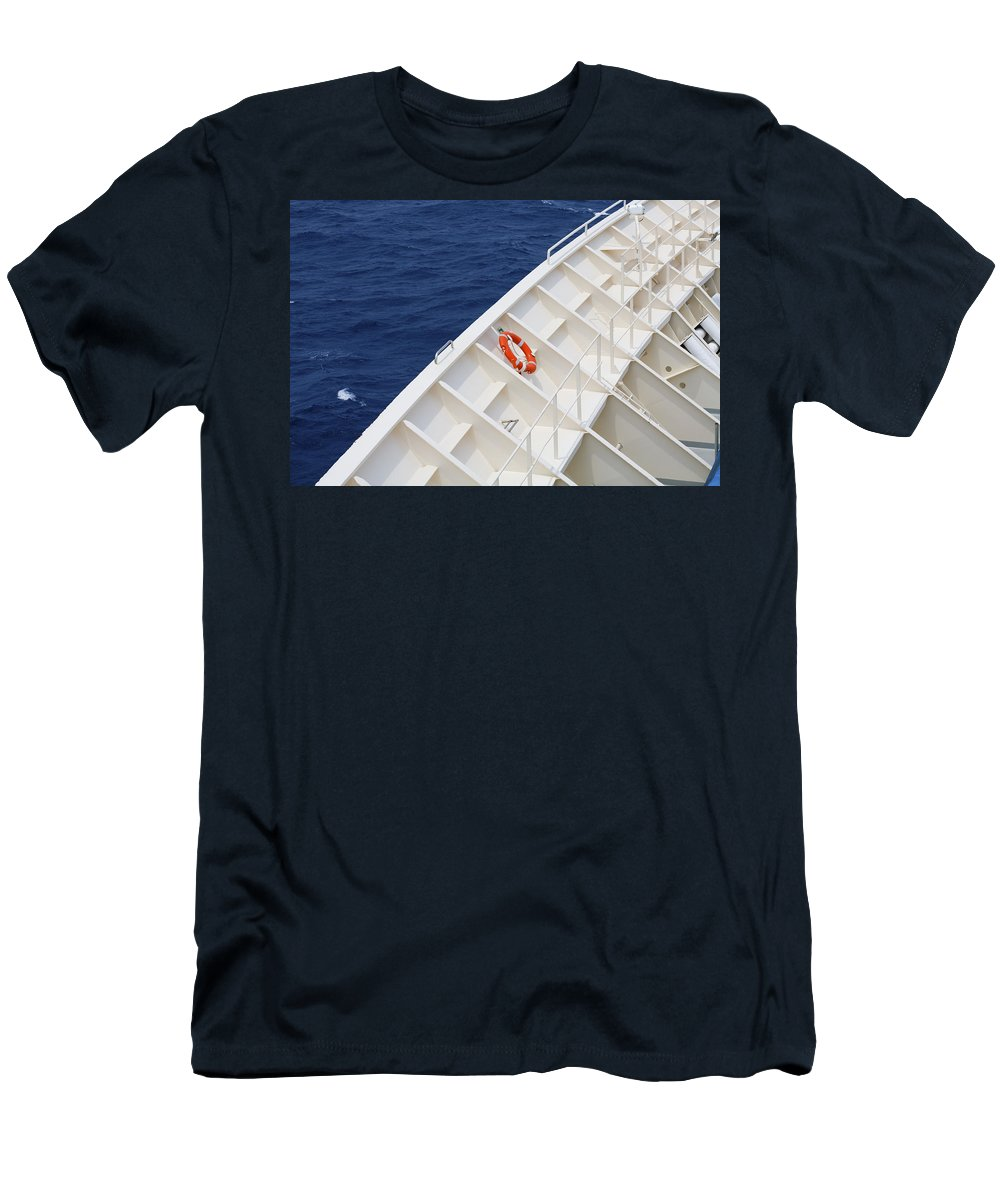 Life Belt Men's T-Shirt (Athletic Fit) featuring the photograph Safety At Sea by Diane Macdonald